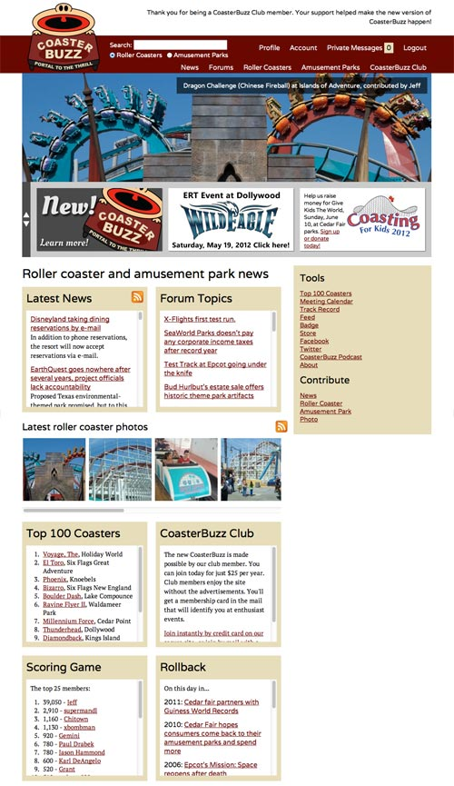 CoasterBuzz Home Page